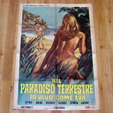 NEL PARADISO TERRESTRE IO VIVO COME EVA manifesto poster Nudismo Erotico Sex