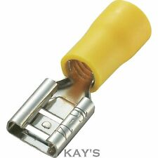 10mm Yellow Female Spade Crimp Connectors, Electric,Alternator,Starter Motor