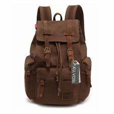 Canvas Backpack, P.KU.VDSL Vintage Canvas Leather Backpack, Hiking Daypacks, Com