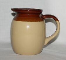 Brown Stoneware Pitcher Crockery Three-Tone Tan Band Vintage 4 Cups