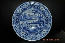 """ANTIQUE FLOW BLUE & WHITE 10"""" STAFFORDSHIRE PLATE BY MEIR FREE SHIPPING"""
