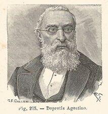 B1810 Agostino Depretis - Incisione antica del 1925 - Engraving
