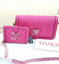 BNWT GUESS $218 SUNSET QUILT Shoulder Bag Messenger Wallet Purse Clutch Pink