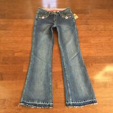 Women's RUFF HEWN Flower Embroidered Blue Jeans, Size 4, NEW WITH TAGS