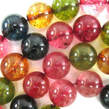 "12mm watermelon tourmaline quartz round beads 15"" strand"