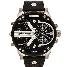 Diesel Men's DZ7313 Mr Daddy 2.0 Stainless Steel Watch With Black Leather Band