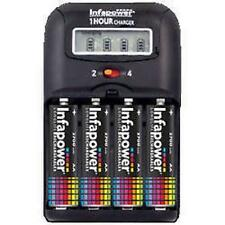 1 Hour Fast Car & Mains Battery Charger 4 Recahargeable AA 2500mAh Batteries New