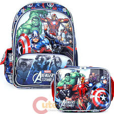 "Marvel Avengers Assemble Large 16"" School Backpack Lunch Bag Set - Hero's"