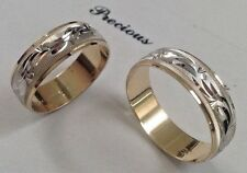14K SOLID TWO TONE GOLD HIS AND HER WEDDING BAND RING SET SZ 5-13 FREE ENGRAVING