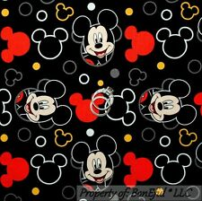 BonEful FABRIC FQ Cotton Quilt Black Red B&W Yellow Disney Mickey Mouse Head Dot
