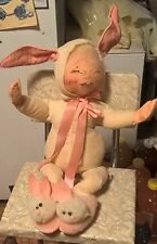 """1990 AnnaLee 18"""" Pajama Kid Easter Bunny Suit w/ Fuzzy Rabbit Slippers Doll"""