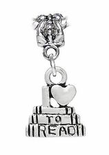 I Love To Read Books Heart Teacher Gift Dangle Bead fits European Charm Bracelet