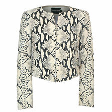 GIORGIO ARMANI snakeskin print goat leather zip-front cropped suede jacket 38-IT