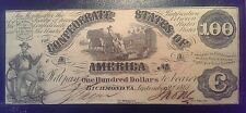 1861 $100 T-13 Confederate States of America Note One Hundred Dollars