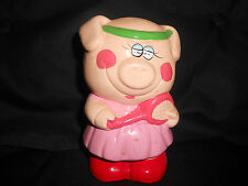 """Piggy Bank in tennis outfit, 6"""", GD cond. ceramic"""