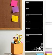 Weekly Wall Planner Black Board, Chalk Board Decal. Peel & Stick (Incl. chalk)