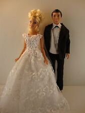 White Wedding Set White Lacy Wedding Gown & Black Tux for Ken & Barbie