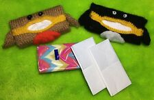 KNITTING PATTERN - Christmas Penguin and Robin Tissue Holders - fits Kleenex