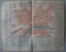 Historische, alte Karte, Stadtplan von Frankfurt - Lithographie von 1890