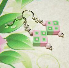 Geometric Dangle Earrings Pink Green Fimo Clay Bead Silver Plated Ear Wire