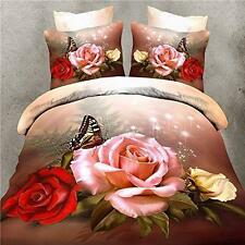 New 3D Butterfly Rose print Bedding Set Cotton Queen Size Comfy Bedding Set 4PCS