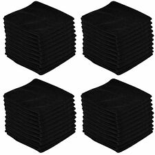 50 x BLACK CAR CLEANING DETAILING MICROFIBER SOFT POLISH CLOTHS TOWELS LINT FREE