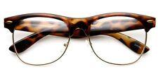 Tortoise Frame Gold Rim Clubmaster nerd 80's Sun-Glasses Clear Lens Half rimless