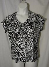 Chico's 3 XL Black White Patterned Knit Top Shirt Cotton Chicos