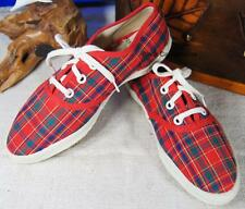 Orig Genuine Vintage Keds Runners/Sneakers Red Plaid Childrens Size 11 1/2 N NOS