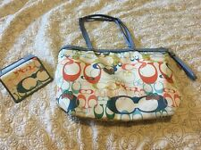 AUTHENTIC Multi Color Coach Bag Tote Purse With Matching Wallet!!!