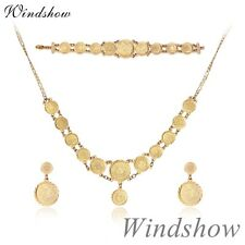 "Womens 18K Gold Filled Multi Embossed Disc 18"" Necklace Earrings Jewelry Sets"