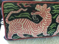 "Clarence House ""TIBET DRAGON"" -navy and pink linen velvet-14"" x 30""  cover"