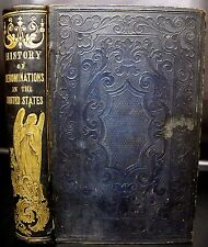 1854 HISTORY RELIGIOUS DENOMINATIONS Leather Bound CHRISTIAN Religion BIBLE Rare
