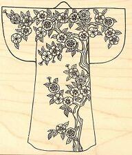 Cherry Blossom Asian Kimono, Wood Mounted Rubber Stamp JUDIKINS - NEW, 2145I