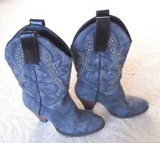 Very Volatile Blue-Gray Suede Stud Rhinestone Western Cowboy Boots Cowgirl 6.5