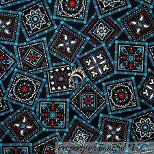 BonEful Fabric FQ Cotton Quilt Black White Red Blue Heart Flower Bandana Paisley