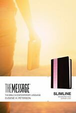 The Message Slimline Bible (Brown / Pink Wave Leatherlike)