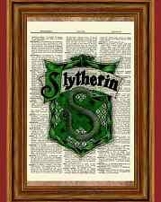 Slytherin Crest Harry Potter Dictionary Art Picture Poster Book House Gift