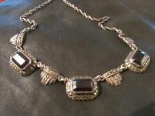 Beautiful Art Deco Quality Solid Silver, Garnet & Marcasite Necklace