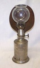 Antique French LAMPE-PIGEON Nickel Oil Lamp w/ Brass Reflector & Shade