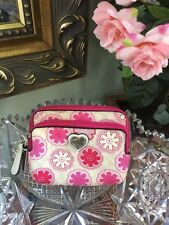 Coach Floral Print F67814 Pink Flowers Double Zip Mini Wallet Coin Purse W6