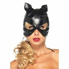 Sexy Black Faux Leather Cat Mask Super Hero Woman Halloween Costume Full Face
