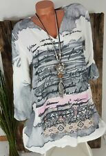 NEU ITALY STRAND CRASH TUNIKA LONG BLUSE KLEID AQUARELL PRINT WEIß / GRAU 36-42
