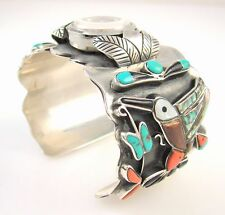 Vtg ELIAS Navajo Sterling Silver Turquoise Coral Shell Hummingbird Watch Cuff J