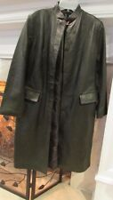 INC International Concepts Full Length Olive Green Leather Coat Sz Small