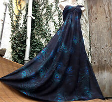 £159 Exquisite MONSOON *Peacock* gorgeous feather print 1 shoulder maxi dress 14
