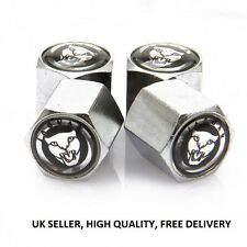JAGUAR VALVE CAPS TYRE STEMS DUST COVER BLACK & CHROME X TYPE S TYPE XJ XJS XK8