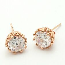 Engagement Clear Round Cubic Zircon Rose Gold Plated Lady Girl Stud Earrings