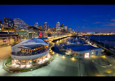 """SEATTLE HARBOR NEW A2 CANVAS GICLEE ART PRINT POSTER FRAMED 23.4"""" x 15.4"""""""