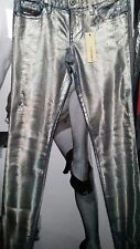 "WOMEN SKINNY  JEANS ""DIESEL"" SILVER HOLOGRAM RAINBOW STRIPED RIPPED W31 L32 SUPE"